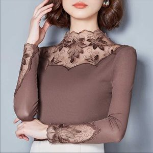 Taupe dressy top with lacy panels long sleeves